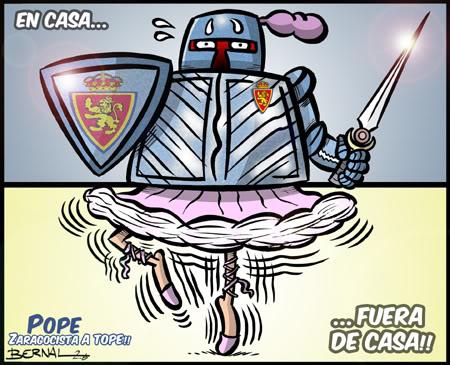 El Zaragoza ha de ser fuerte en casa. Viñeta: Bernal