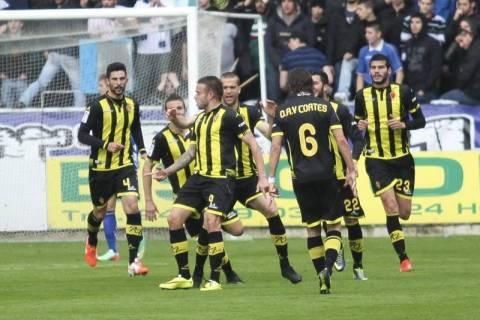 El Zaragoza elebra el primer gol. Foro: periódico de Aragón