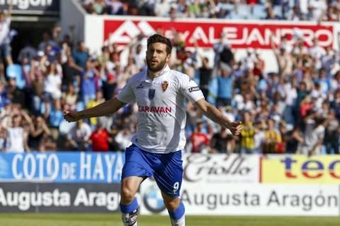 Borja celebra su gol. Foto: periódico de Aragón