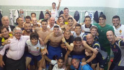 Alegría del vestuario zaragocista. Foto: Real Zaragoza